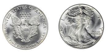 afbeelding van een zilveren American Eagle munt