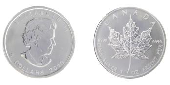 afbeelding van een zilveren Maple Leaf munt
