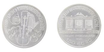 afbeelding van een zilveren Philharmoniker munt